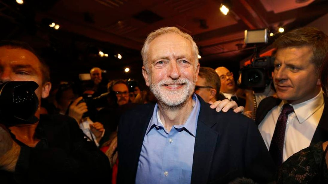 Jeremy Corbyn leaves the stage after being announced new Labour leader