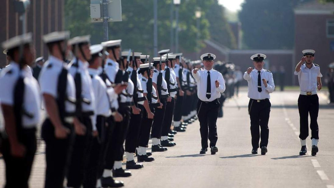 Sailors from the Royal Navy train at HMS Collingwood.