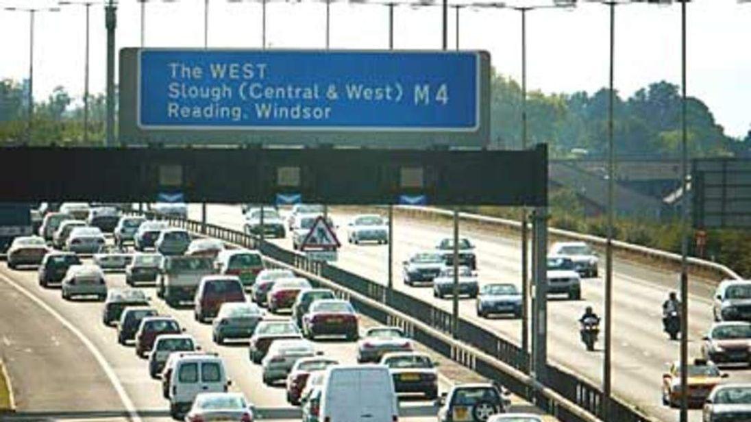 95 M25 motorway traffic jam cars transport