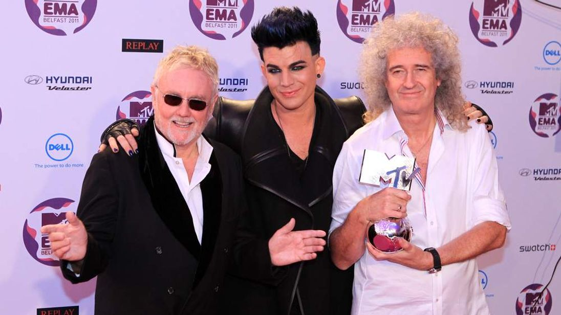 Adam Lambert with Queen's Roger Taylor and Brian May