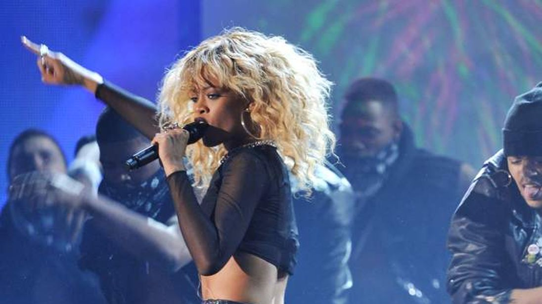 Rihanna performs at this year's Grammy Awards