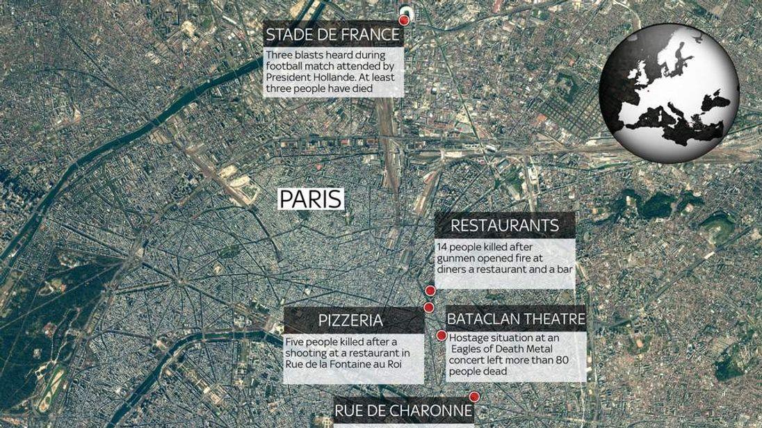 Paris Attack Locations