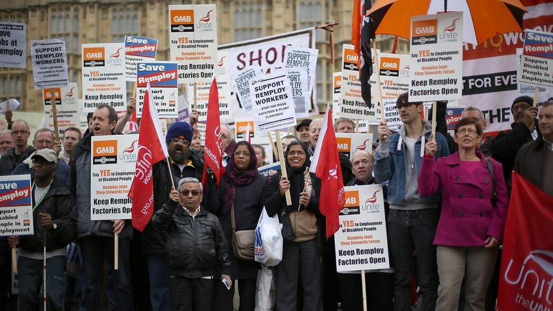 Remploy Workers Demonstrate Against Planned Factory Closures