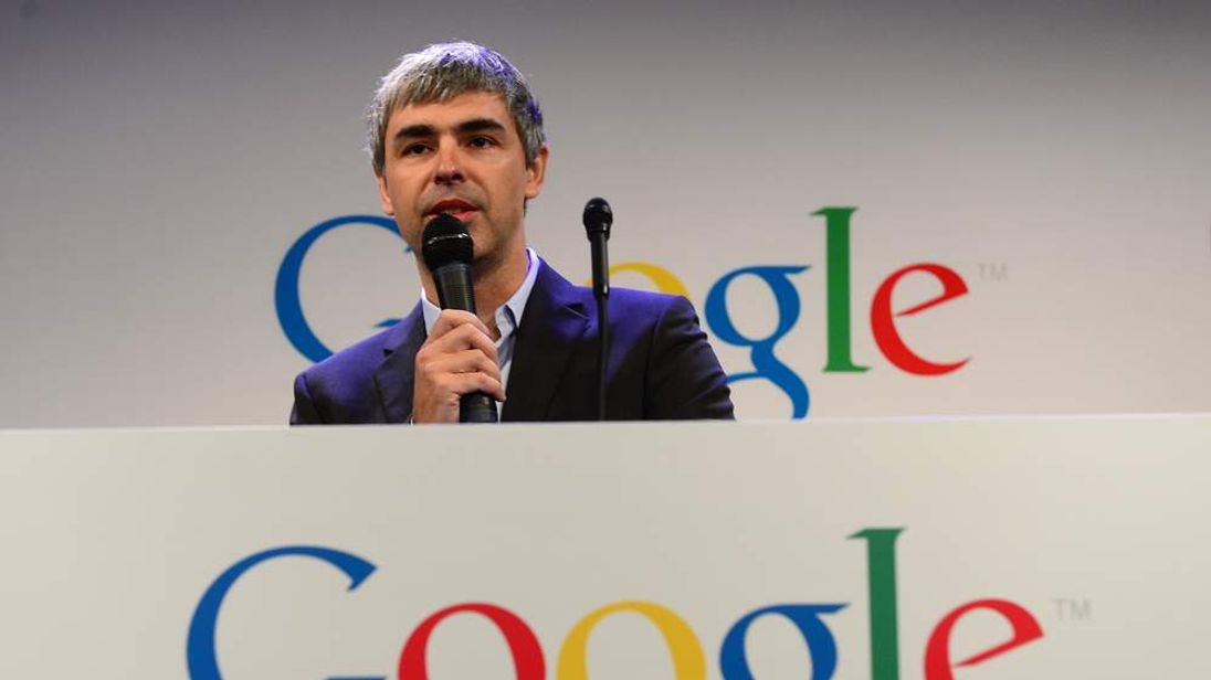 Google CEO Larry Page holds a press annoucement at Google headquarters in New York on May 21, 2012.
