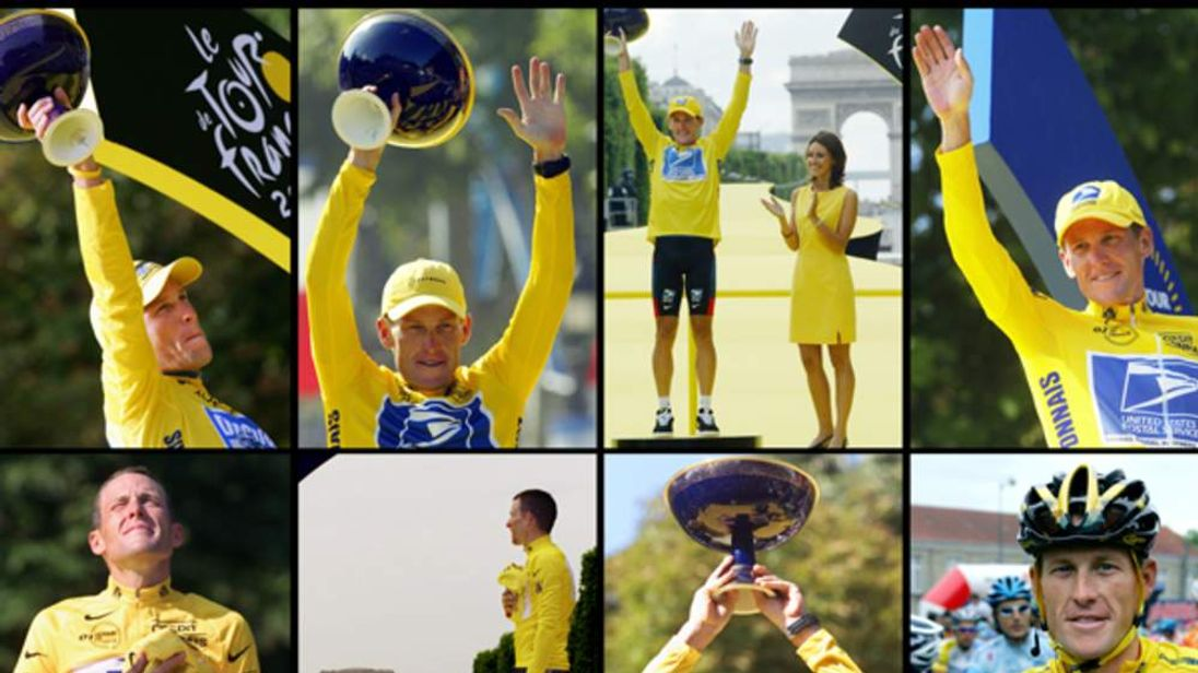 Lance Armstrong With His Tour de France Titles