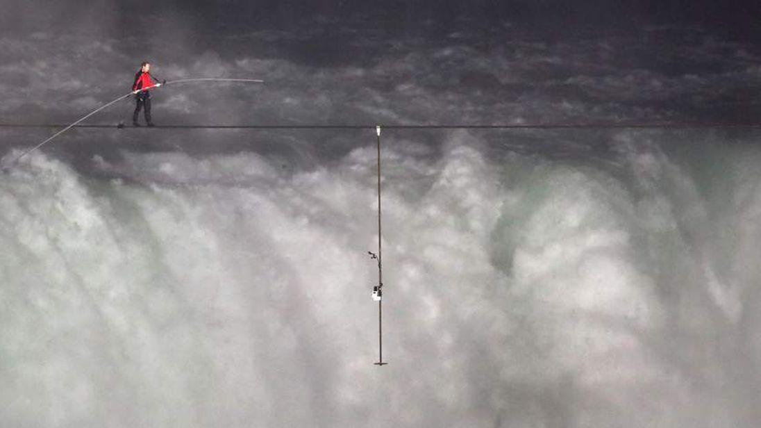 Nik Wallenda Attempts To Cross Niagara Falls On A Tightrope