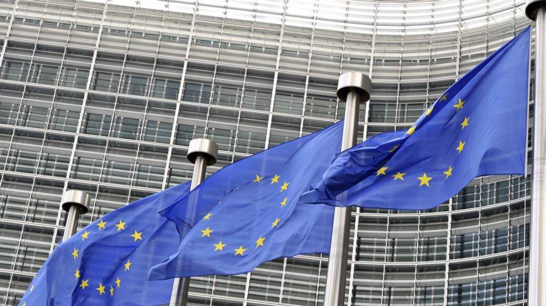 European flags flutter in the wind in Brussels
