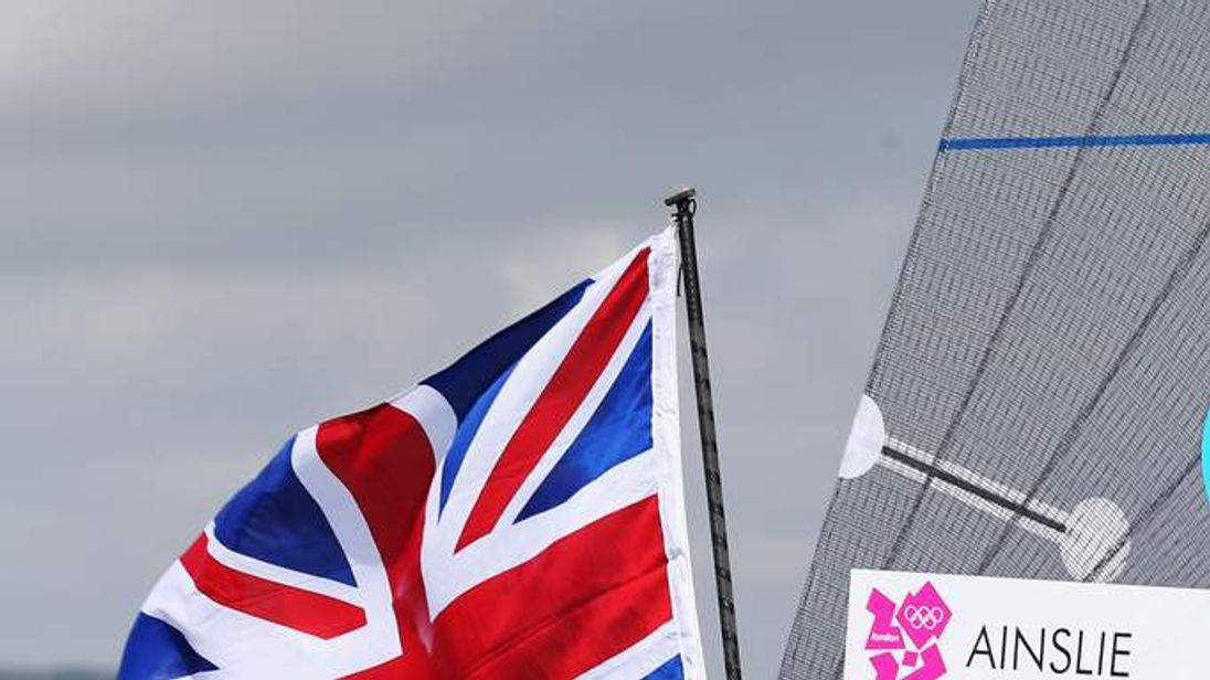 Sailing Ben Ainslie London 2012 with flag on boat