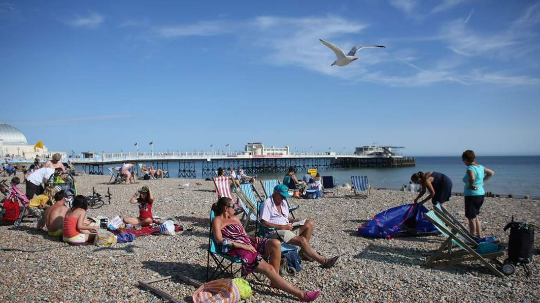 Sunny, warm weather at seaside in Worthing, West Sussex