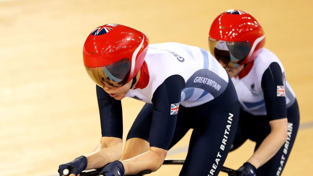 Fiona Duncan and Lora Turnham of Great Britain compete in the Women's Individual B 1km Cycling Time Trial qualification