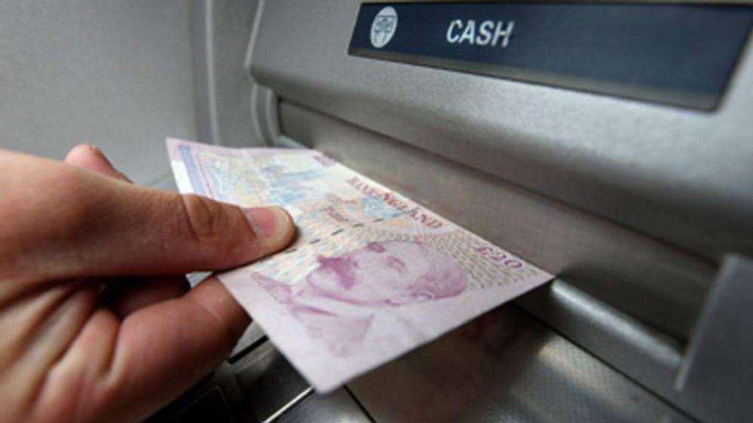 A cash machine in use