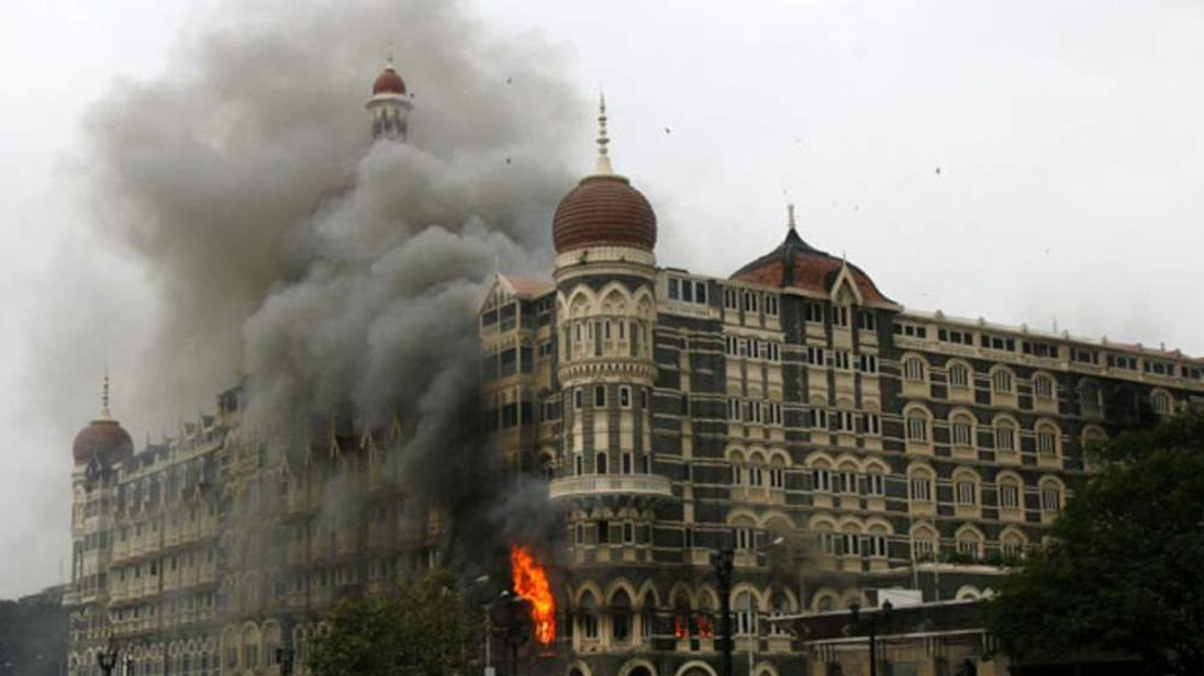 Taj Mahal Palace Hotel is engulfed by smoke