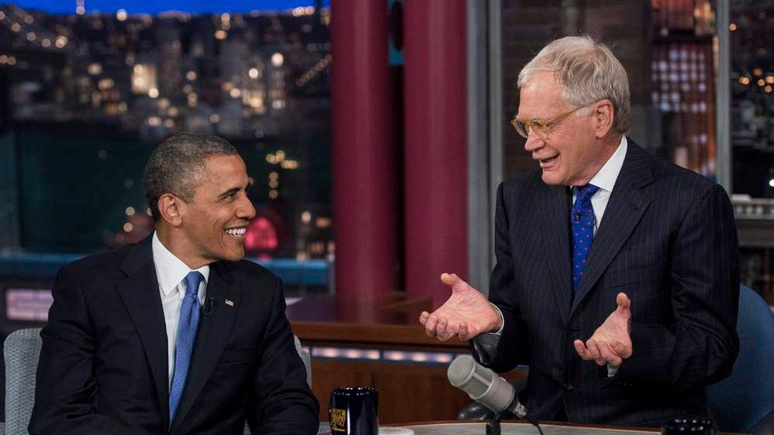 US President Barack Obama and David Letterman