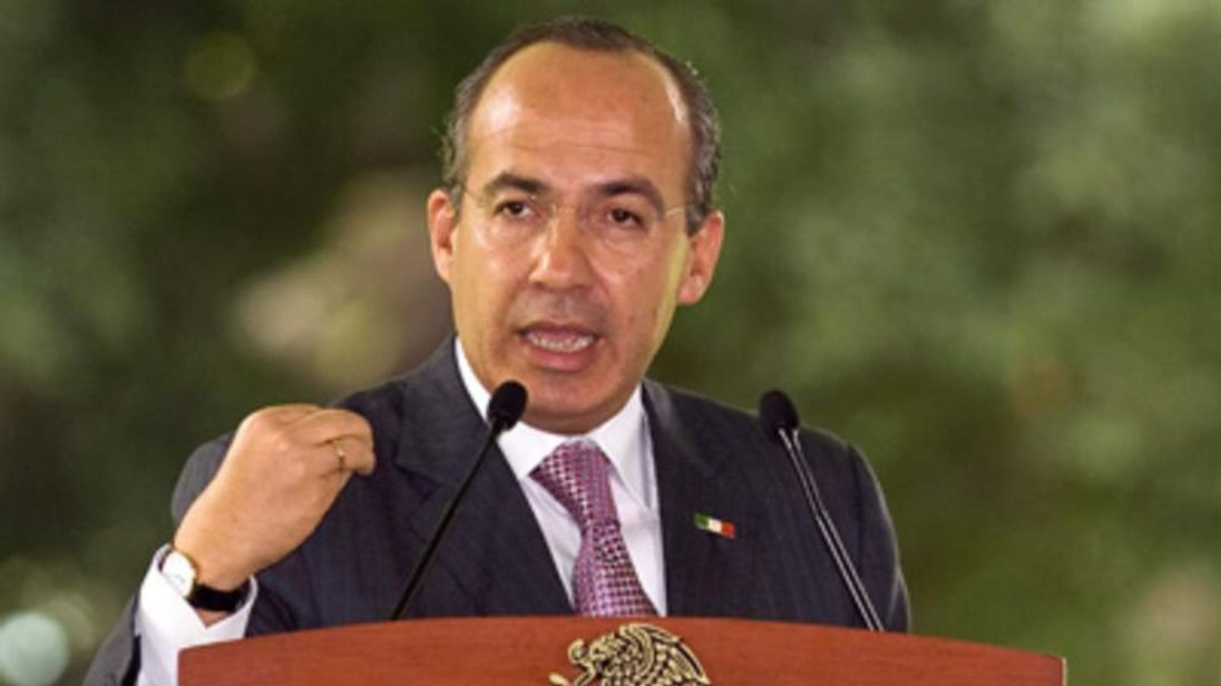 Mexican President Felipe Calderon in Jiutepec, Morelos state, Mexico, on June 22, 2009.