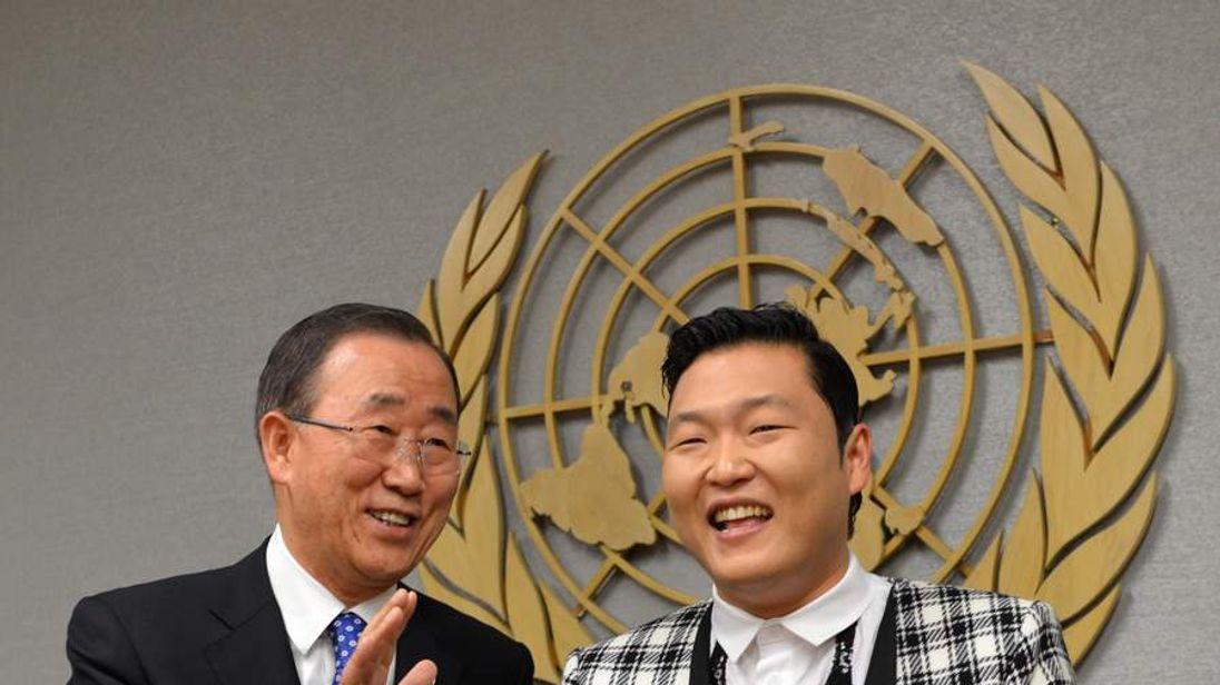 UN Secretary General Ban Ki-moon meets Gangnam Style singer Psy