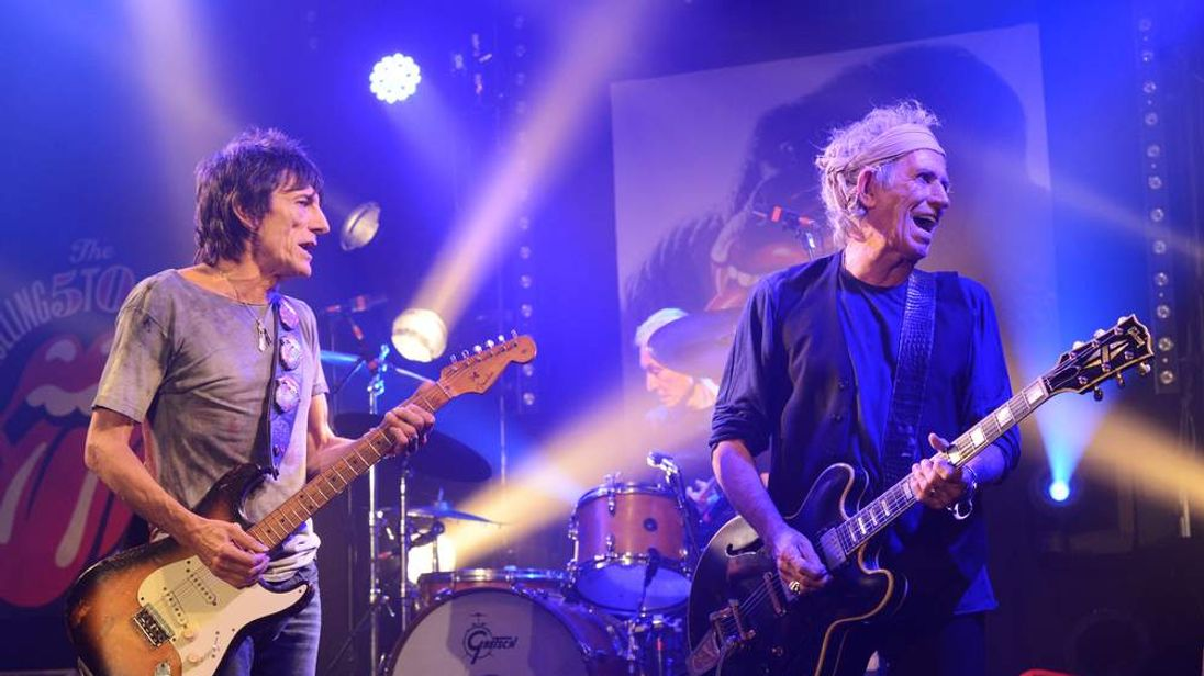 Ronnie Wood and Keith Richards of The Rolling Stones perform at a secret club gig for 600 lucky fans as the band warm up for their 4 dates in London and New York next month.