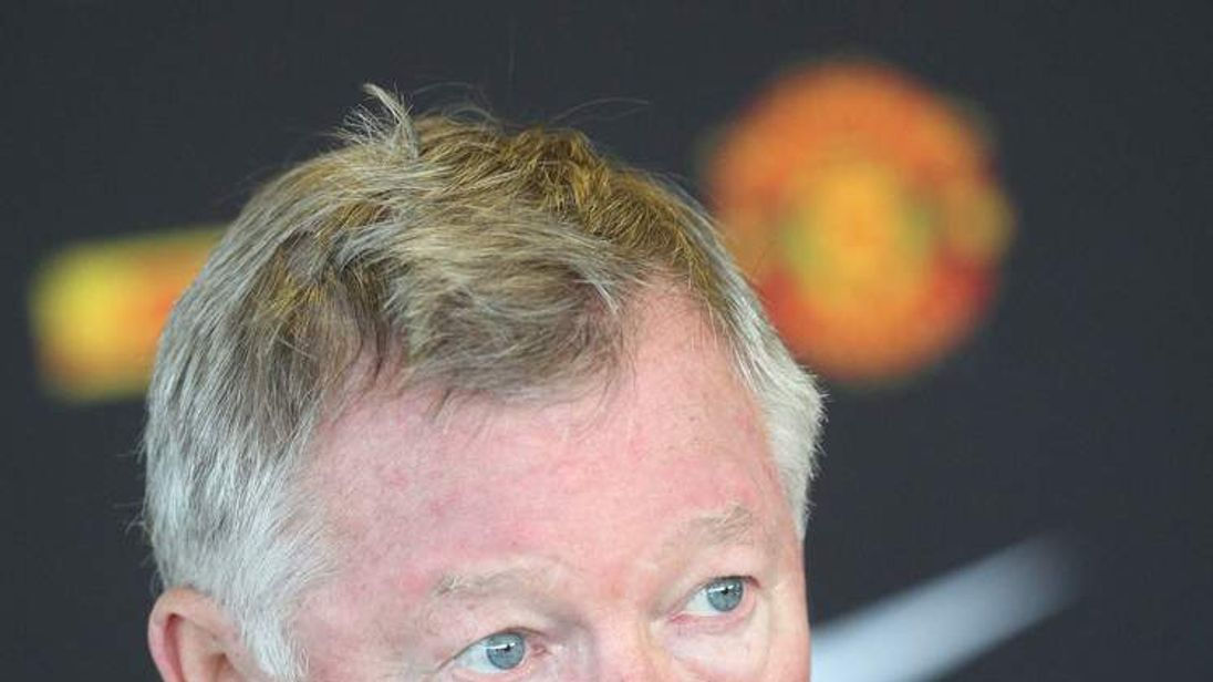 Sir Alex Ferguson of Manchester United speaks during a pre-match press conference at Carrington Training Ground