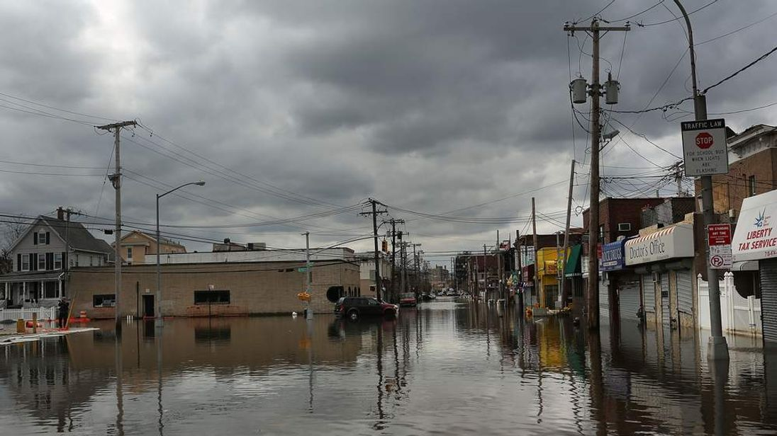 Flood-damaged streets in Rockaway, Queens