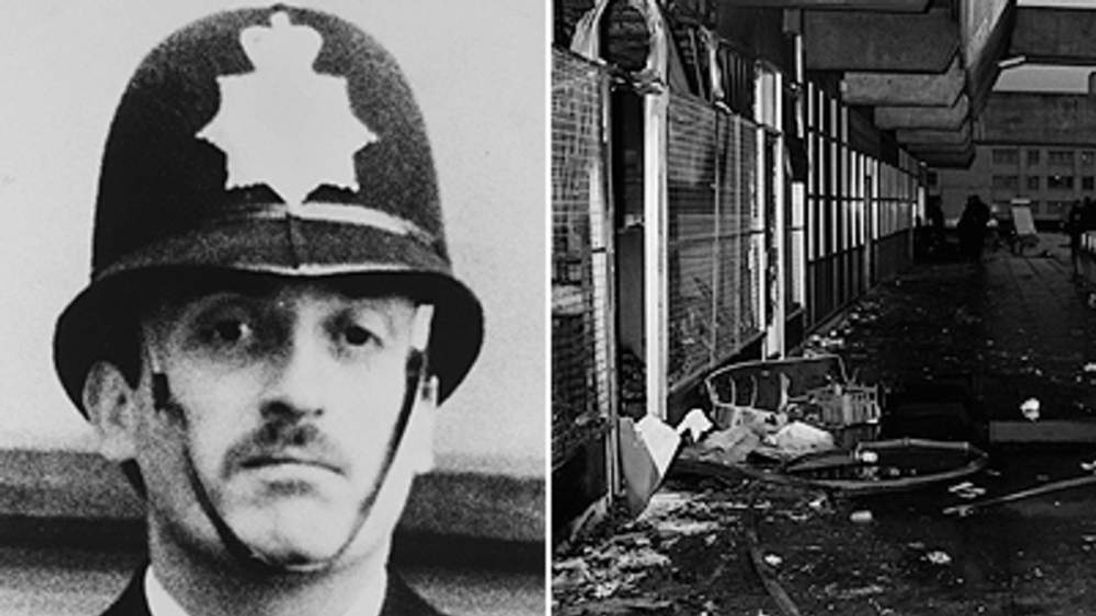 Pc Keith Blakelock and debris on the Broadwater Farm housing estate after the riot