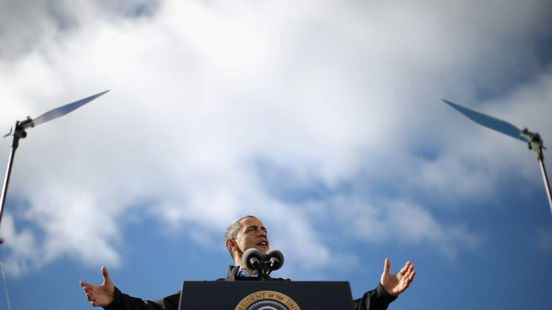 Obama addresses a campaign rally in State Capitol Square.