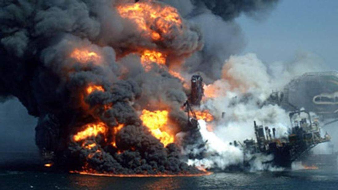Deepwater Horizon oil platform burning following explosion on April 22