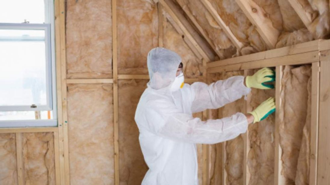 Home insulation being installed