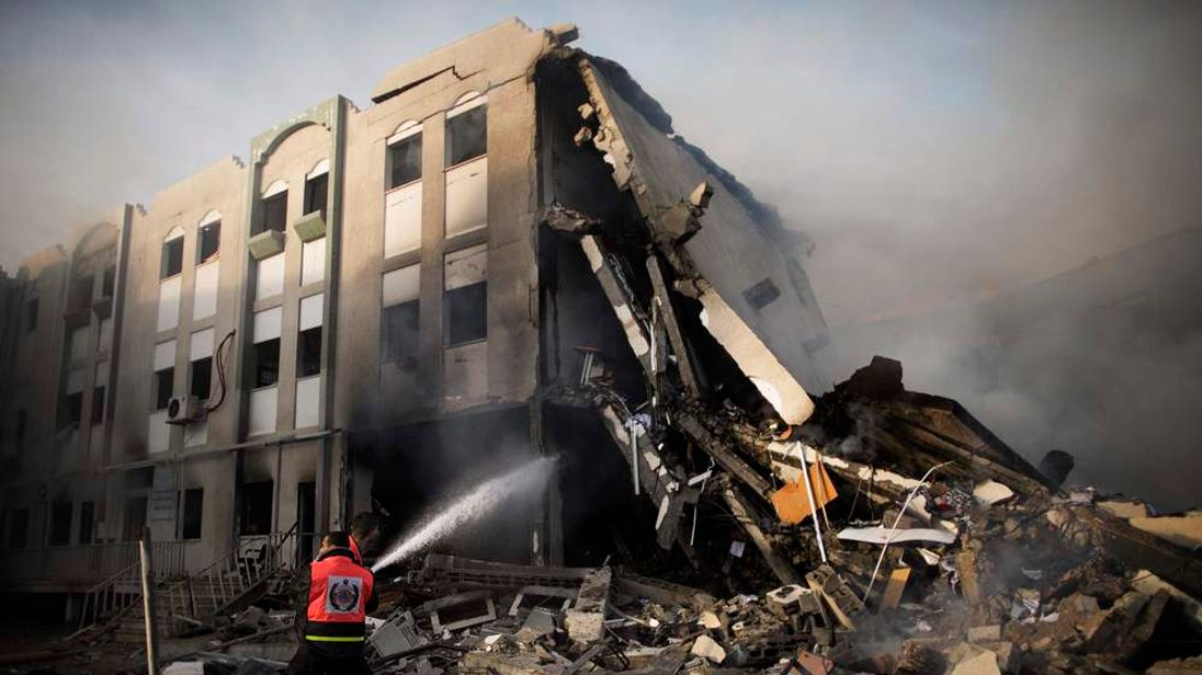 Ministry of Interior building was attacked by Israei airstrike in Gaza