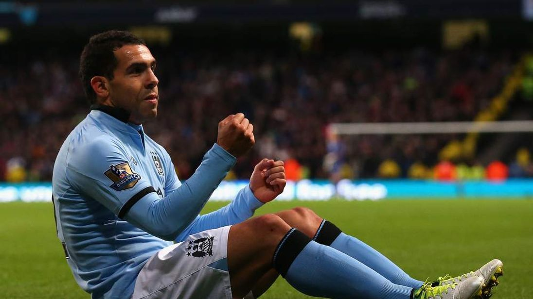 Manchester City's Carlos Tevez celebrates goal against Aston Villa