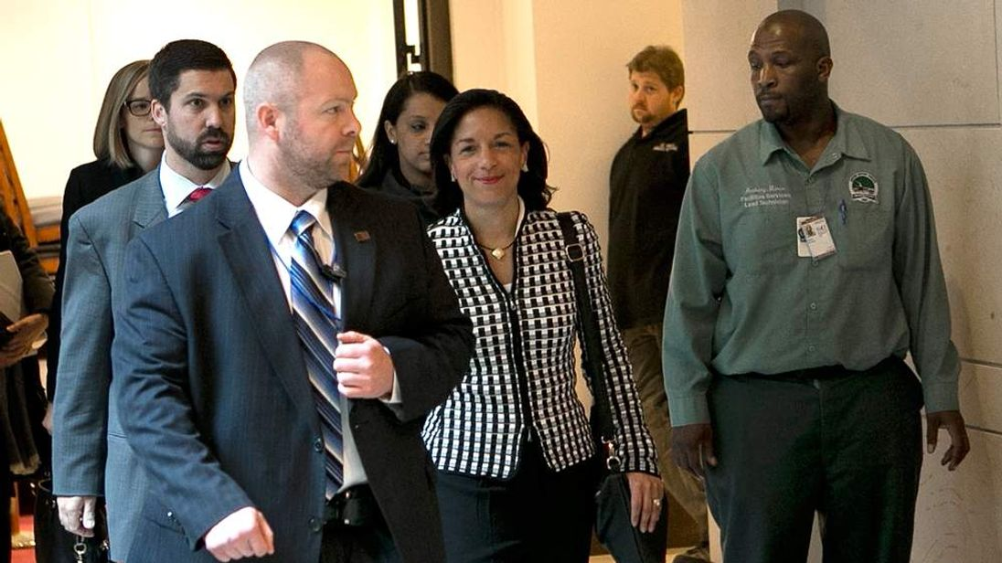 Susan Rice Meets Senator Susan Collins On Capitol Hill
