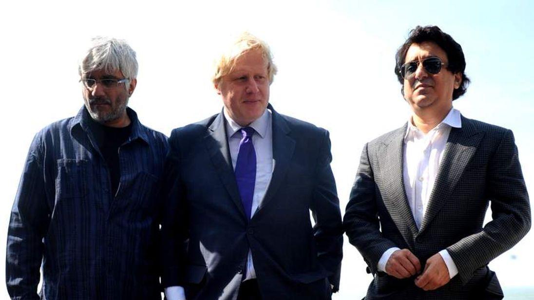 London Mayor Boris Johnson with Bollywood film producer Sajid Nadiadwala