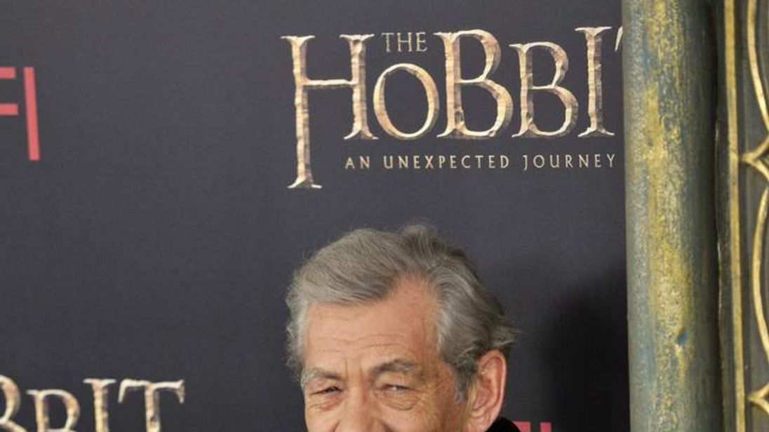 Sir Ian McKellen at the US premiere of The Hobbit: An Unexpected Journey