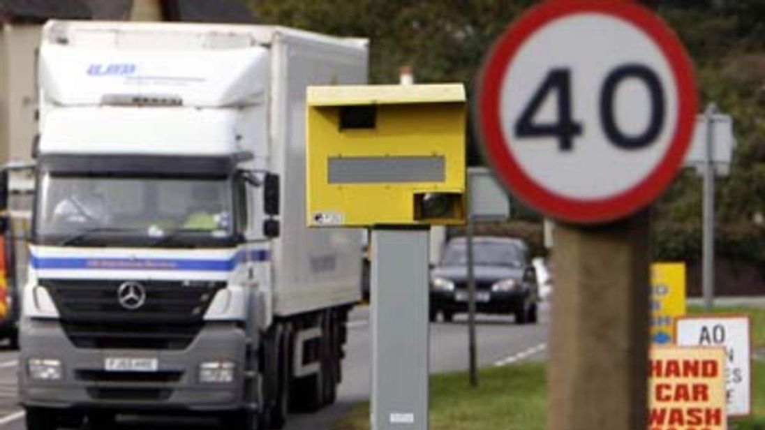 A lorry approaches a speed camera in Bretby