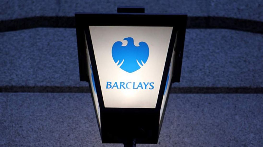 A lamp with the Barclays bank logo