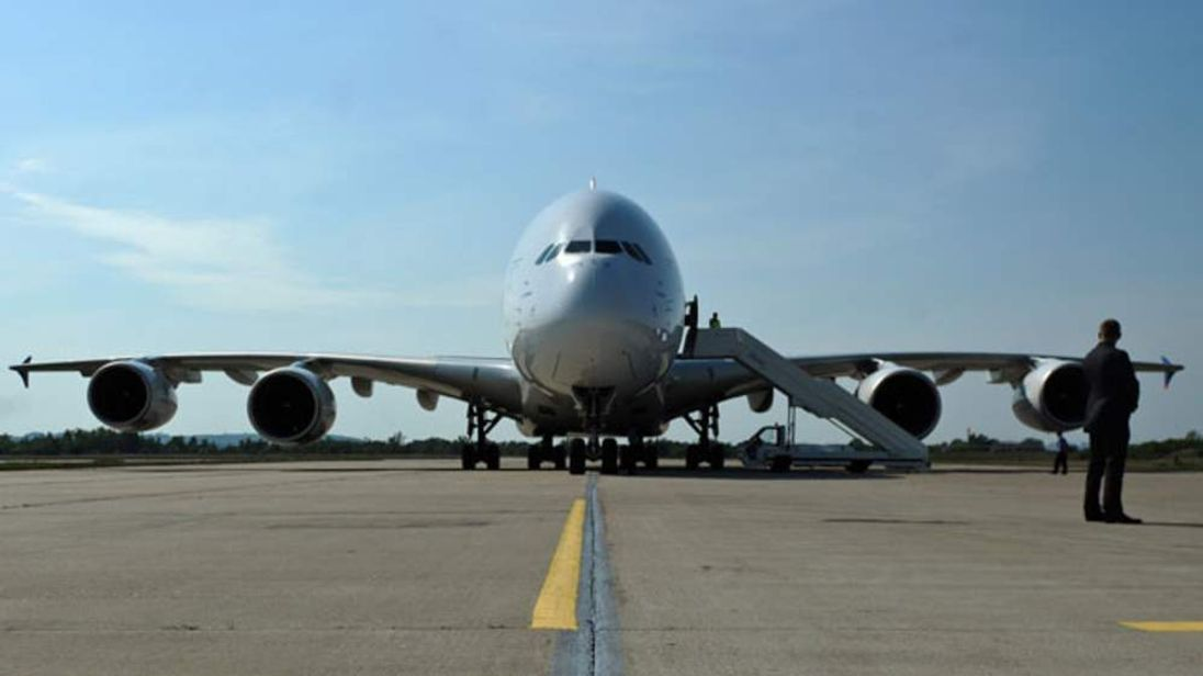 An Airbus A380 superjumbo jet