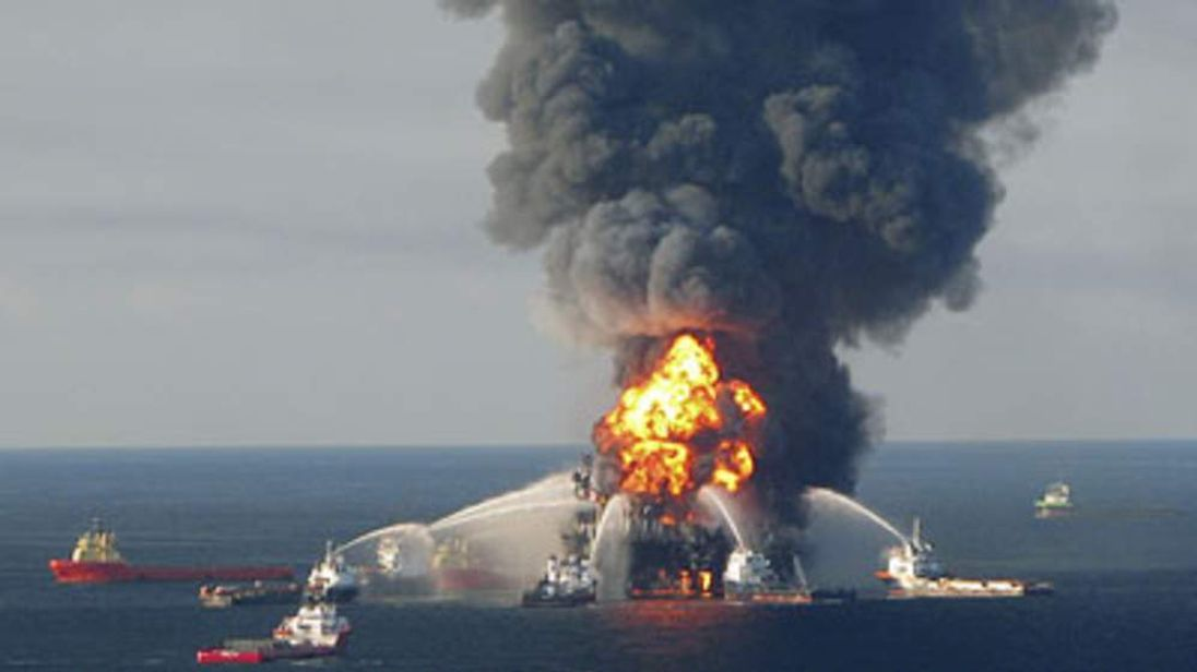 Fire boat response crews battle the blazing remnants of the off shore oil rig Deepwater Horizon following the explosion on April 20, 2010.