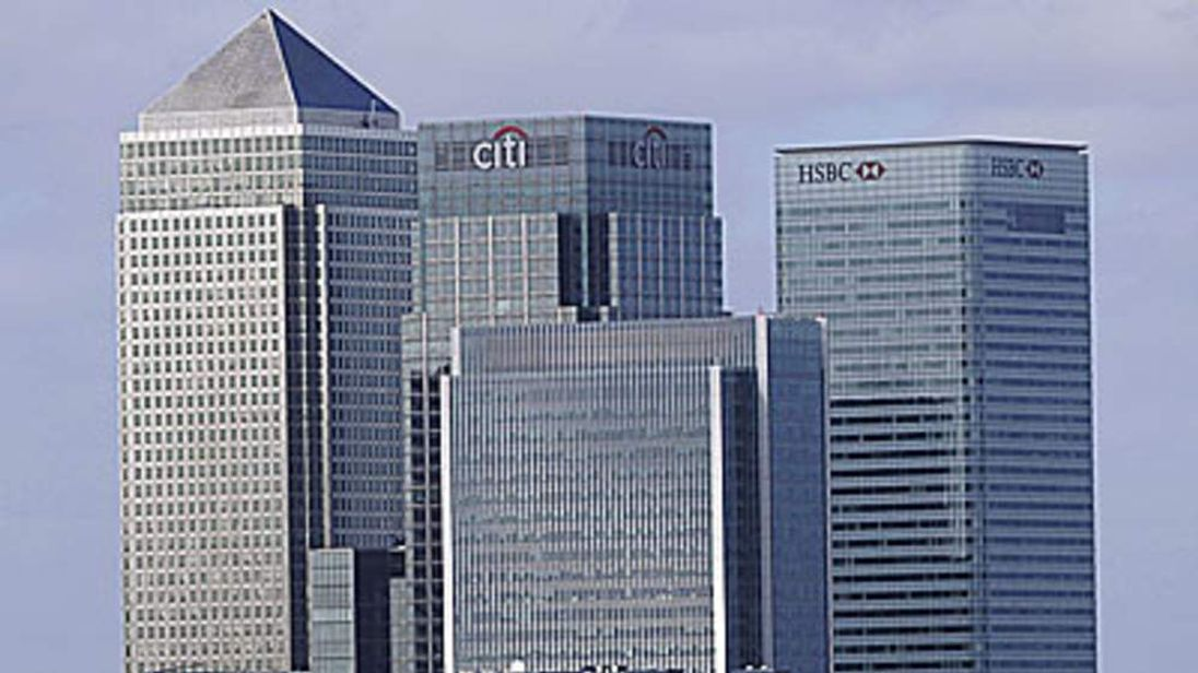 A general view of the London headquarters of British banks HSBC and Barclays.
