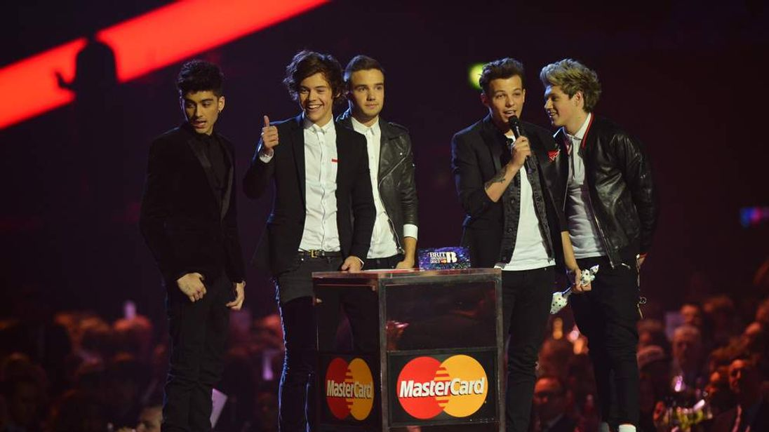 One Direction celebrate at the Brit Awards