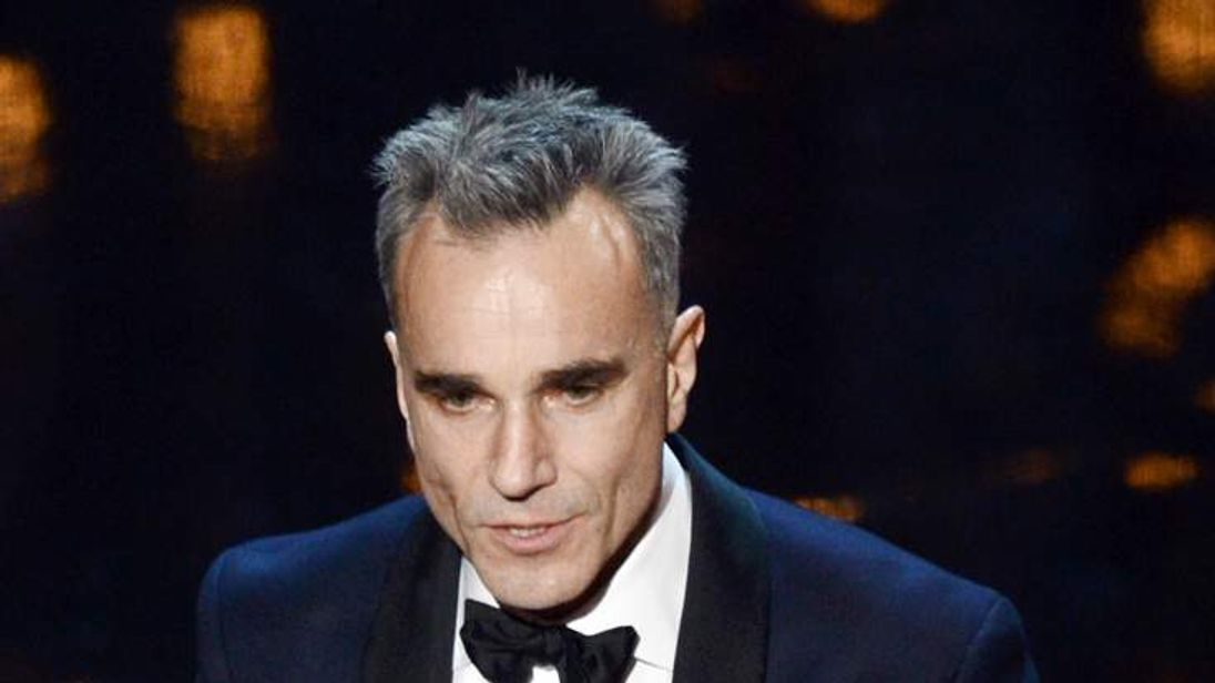 "Actor Daniel Day-Lewis accepts the Best Actor award for ""Lincoln"""