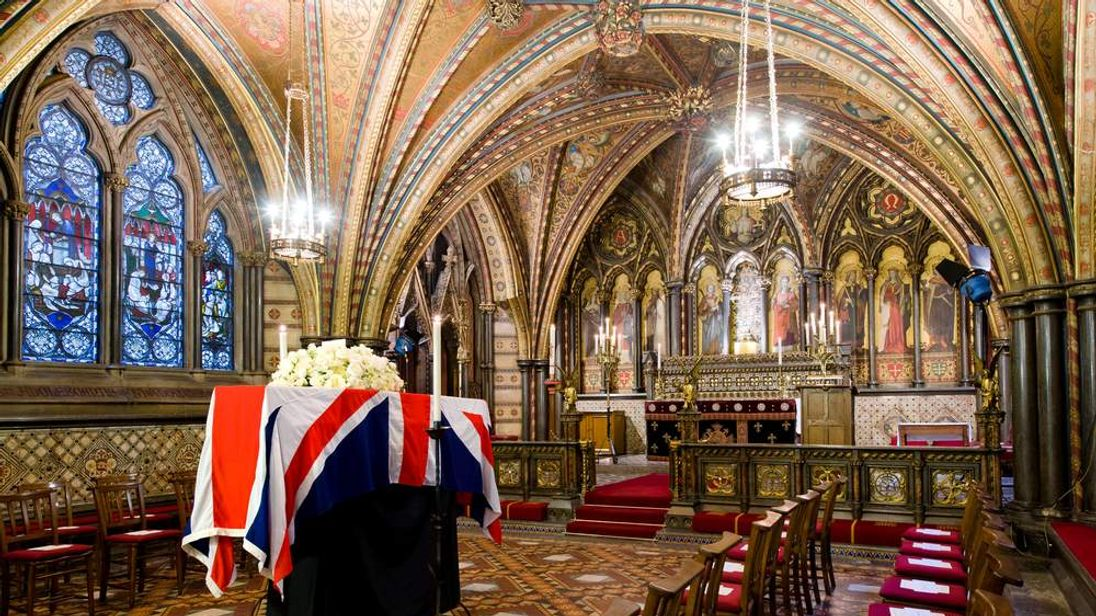 The coffin of former Prime Minister Margaret Thatcher rests in the Crypt Chapel of St Mary Undercroft