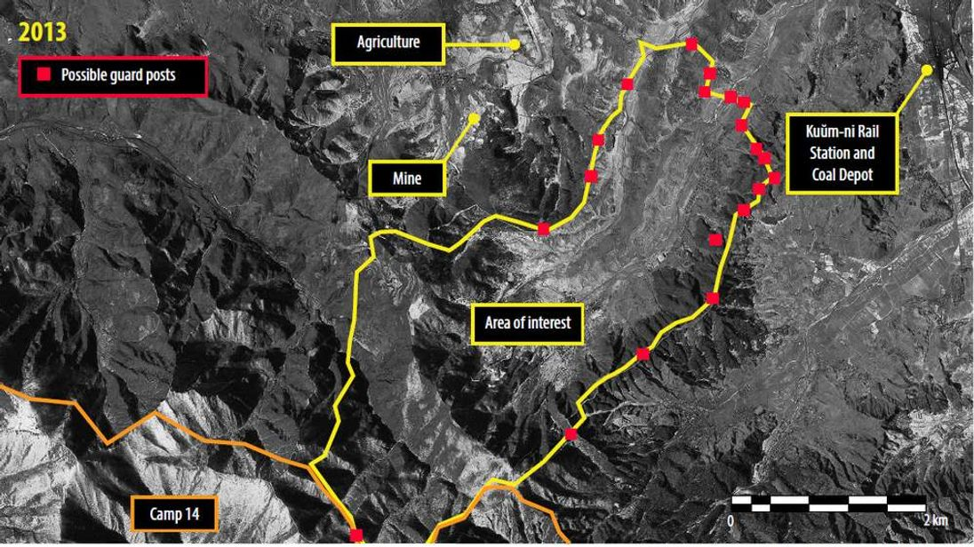 Possible guard posts in North Korea's Ch'oma-Bong valley