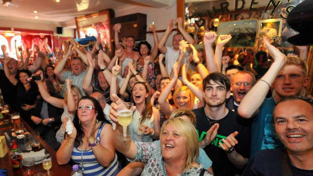 Dunblane Residents Watch Local Boy Andy Murray Compete In Wimbledon Final