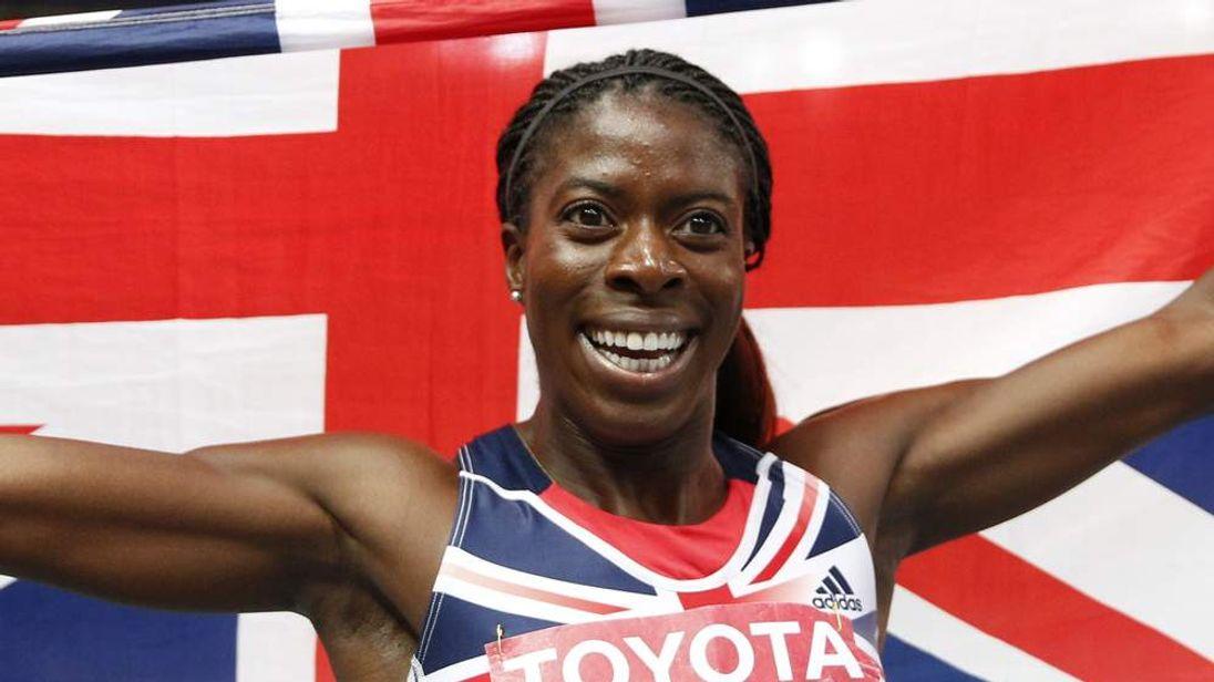 Christine Ohuruogu celebrates after winning the women's 400 metres final at the 2013 IAAF World Championships at the Luzhniki stadium in Moscow