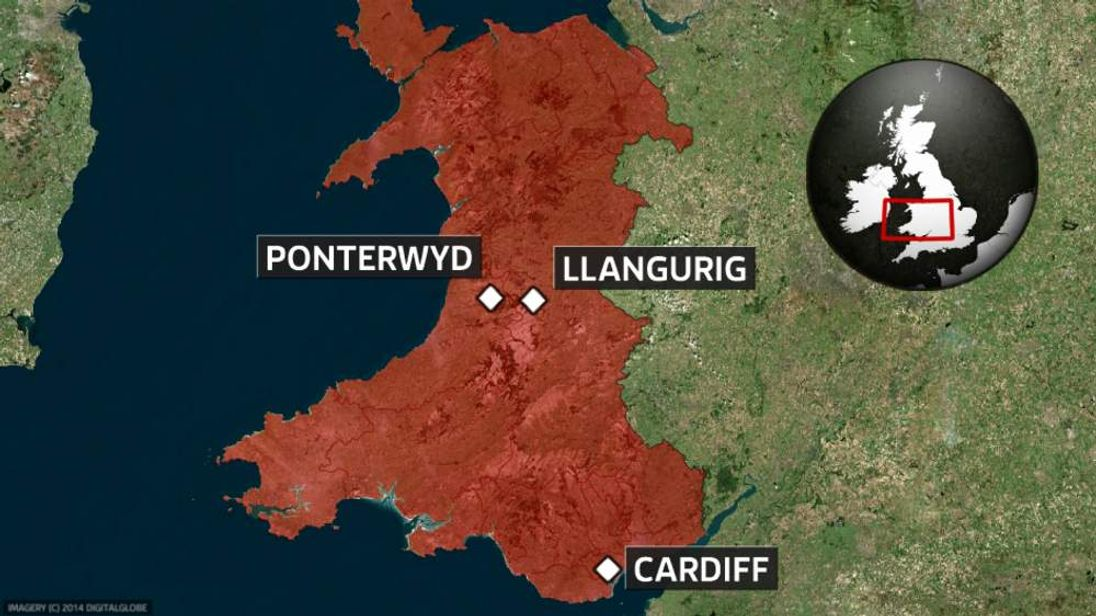 A map of Ponterwyd and Llangurig in Wales