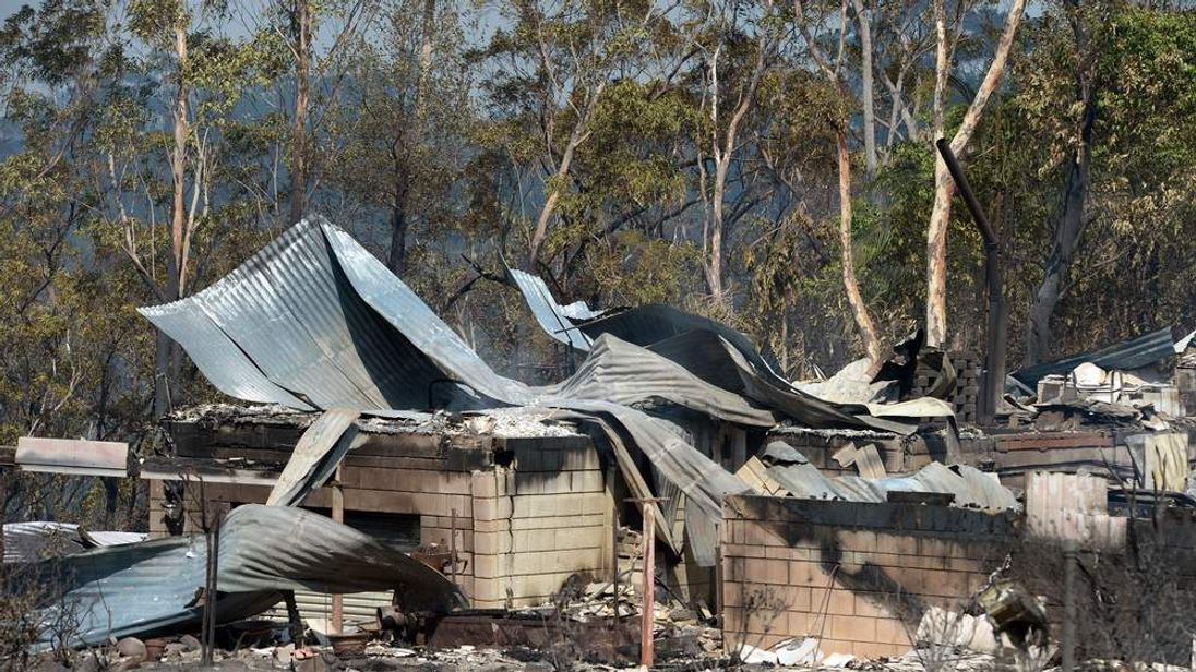 A house destroyed by bushfires in Winmalee in Sydney's Blue Mountains
