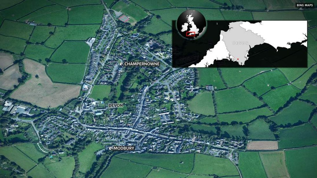 Map of Modbury, Devon