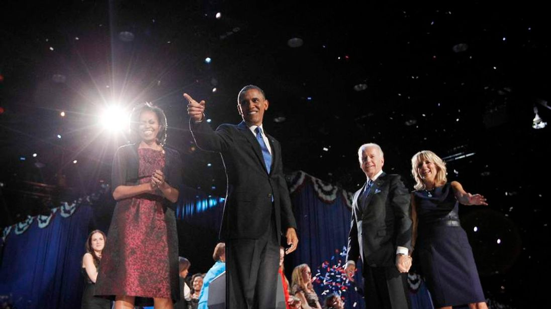 U.S. President Barack Obama celebrates