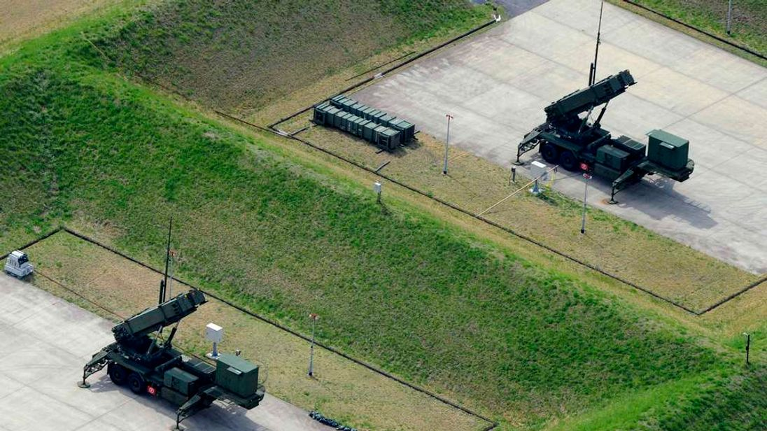 An aerial view shows units of PAC-3 missiles at Japan Self-Defence Forces' Narashino exercise area in Funabashi