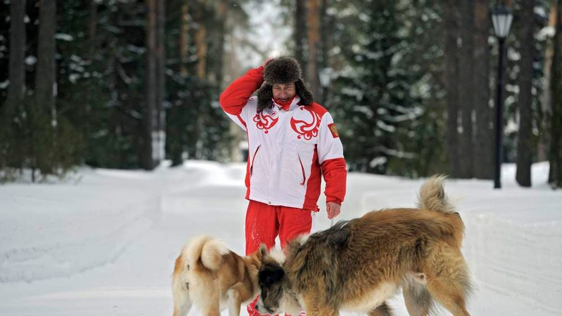 Russia's President Vladimir Putin walks with dogs in Moscow Region
