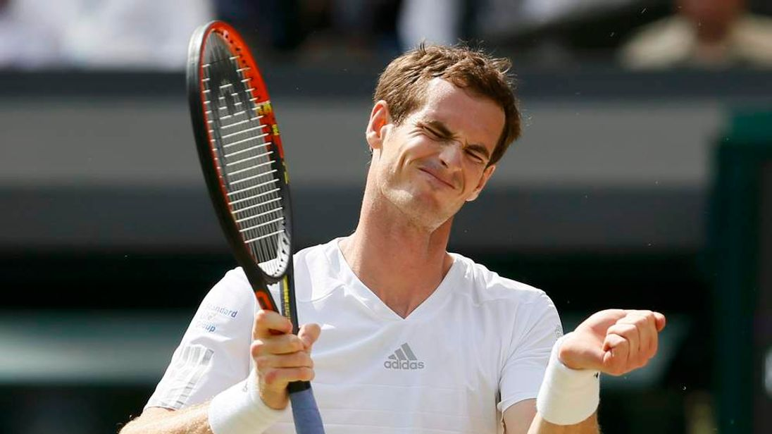 Andy Murray of Britain reacts during his men's singles quarter-final tennis match against Grigor Dimitrov of Bulgaria at the Wimbledon Tennis Championships, in London