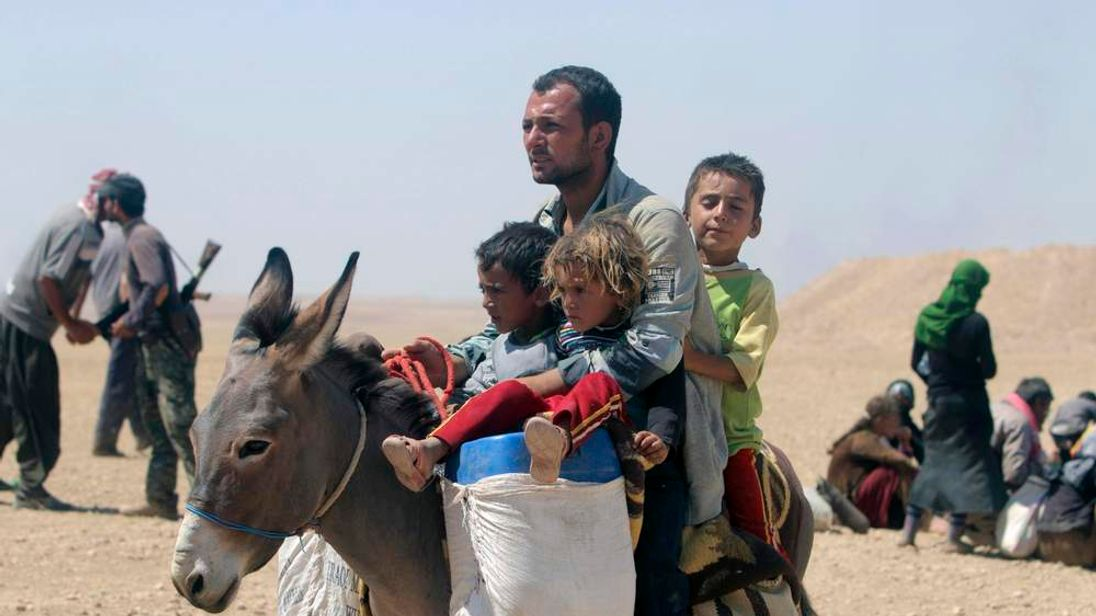 Displaced people from minority Yazidi sect, fleeing violence from forces loyal to Islamic State in Sinjar town, ride donkey as they make way towards the Syrian border, on outskirts of Sinjar mountain